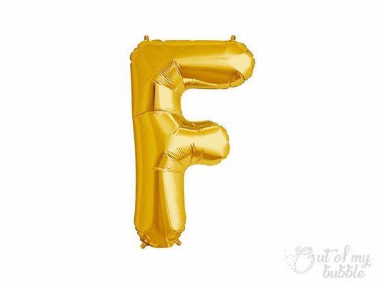 Gold foil balloon letter F