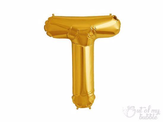 Gold foil balloon letter T