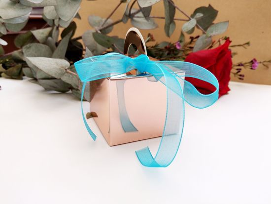Picture of Rose Gold Wedding Favor Boxes 10 Turquoise Ribbon
