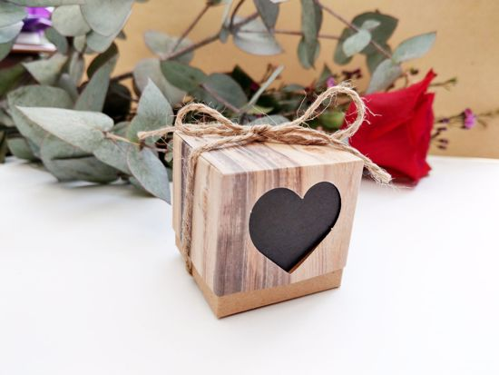 Picture of Rustic Wedding Favor Boxes Heart Chalkboard