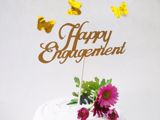 Picture of Happy Engagement Gold Glitter Cake Topper