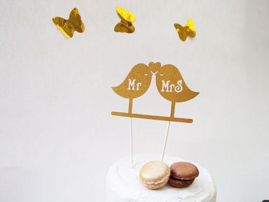 Picture of Mr Mrs Gold Glitter Cake Topper Love Birds