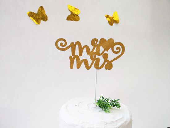 Picture of Mr Mrs Gold Glitter Cake Topper
