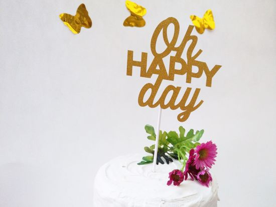 Picture of Oh Happy Day Gold Glitter Cake Topper