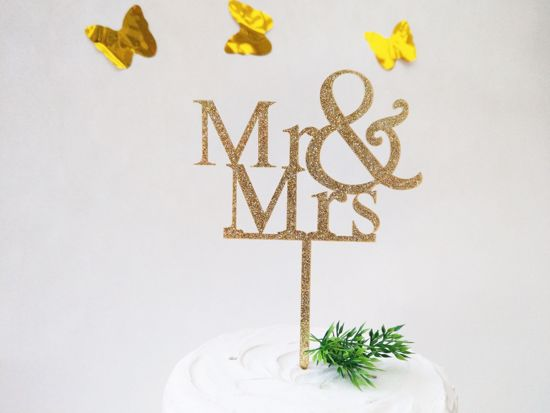 Picture of Mr & Mrs Gold Glitter Cake Topper