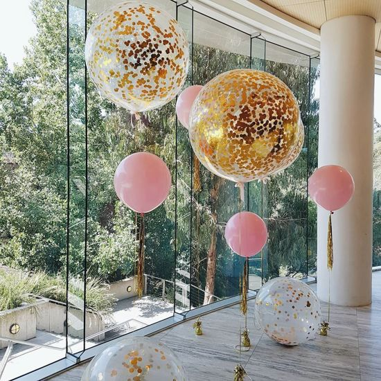 """Picture of Gold Confetti Balloons Metallic 36"""" Pink"""