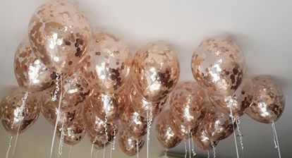 Picture of Ceiling Balloons Confetti Rose Gold Foil Metallic