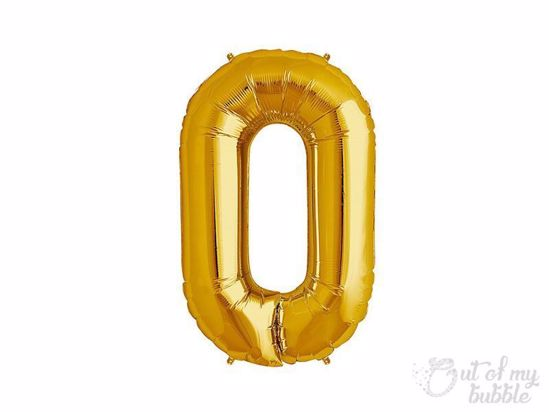 Gold foil balloon number 0