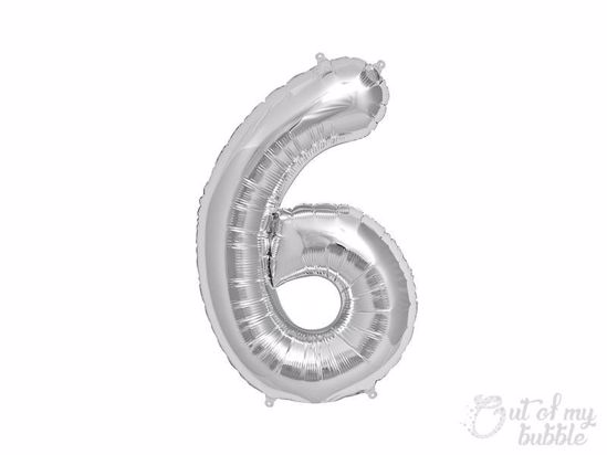 Silver foil balloon number 6