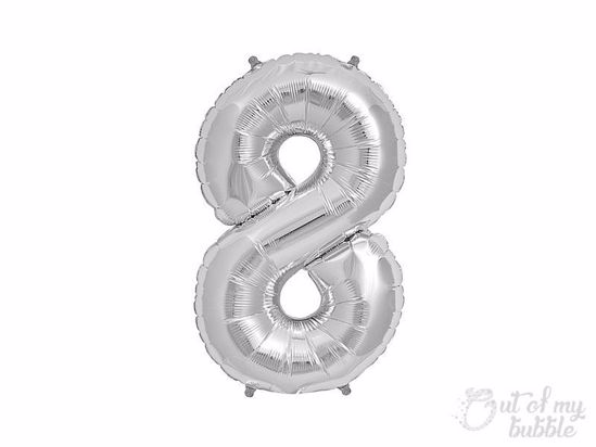 Silver foil balloon number 8