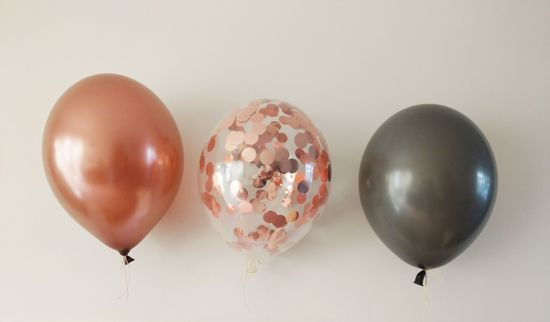 Picture of Rose Gold Balloons Copper Grey Confetti