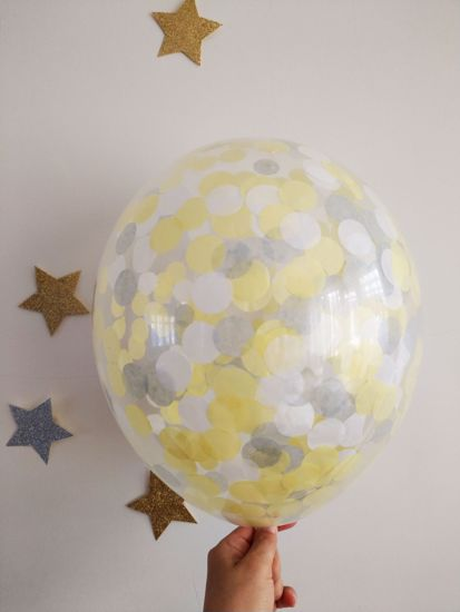 Picture of Yellow Grey White Confetti Balloons