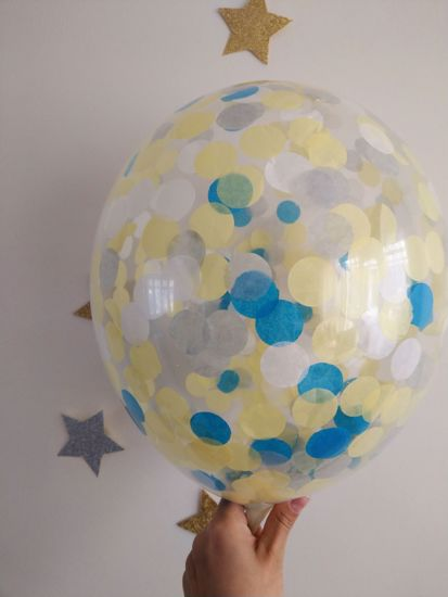 Picture of Turquoise Yellow Grey White Confetti Balloons