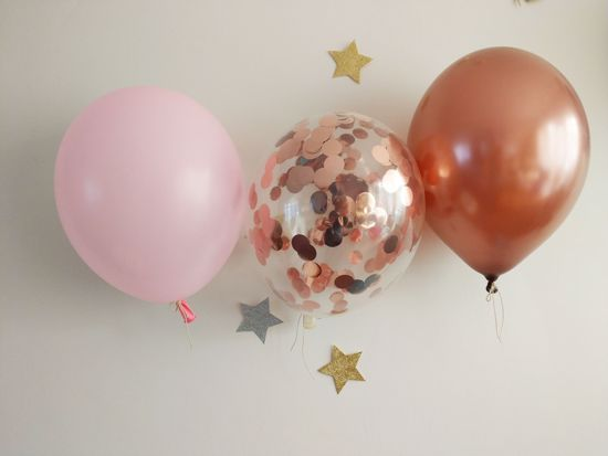 Picture of Blush Pink Copper Balloons Rose Gold Confetti