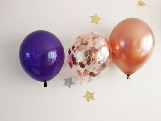 Picture of Purple Copper Balloons Rose Gold Confetti