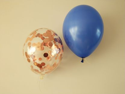 Picture of Royal Blue Rose Gold Confetti Balloons Pack