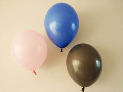 Picture of Blush Pink Royal Blue Grey Balloons Bouquet