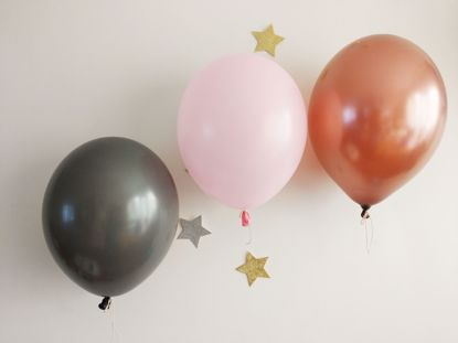 Picture of Blush Pink Grey Copper Balloons Bouquet