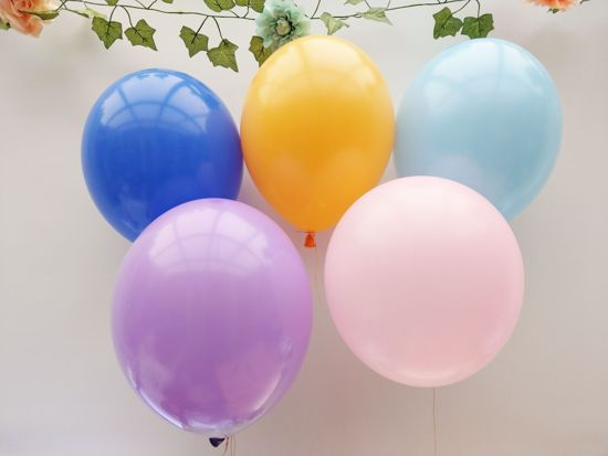 Picture of Lavender Blush Pink Royal Blue Yellow Balloons Bouquet