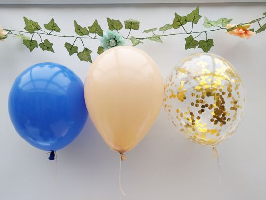 Picture of Blush Balloons Gold Confetti Royal Blue Bouquet
