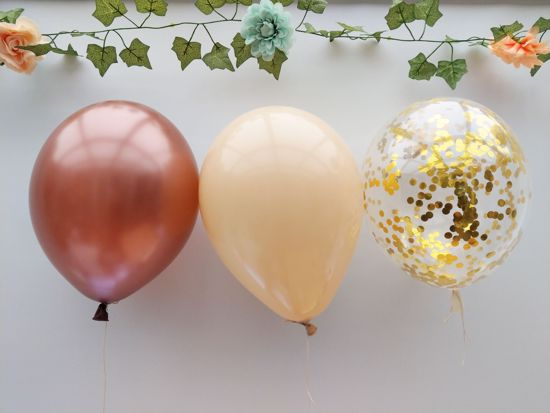Picture of Blush Balloons Gold Confetti Copper Bouquet