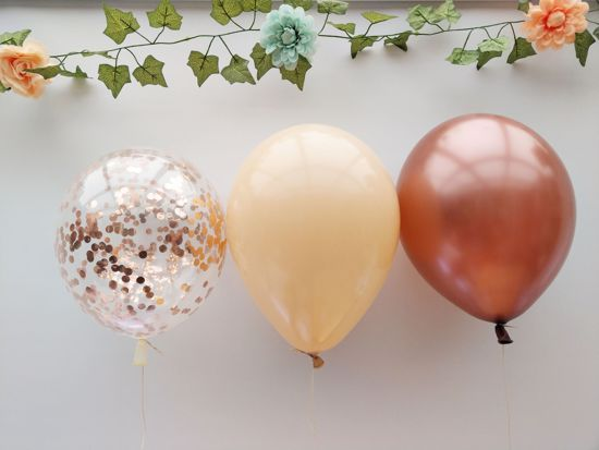 Picture of Rose Gold Balloons Confetti Copper Blush Bouquet