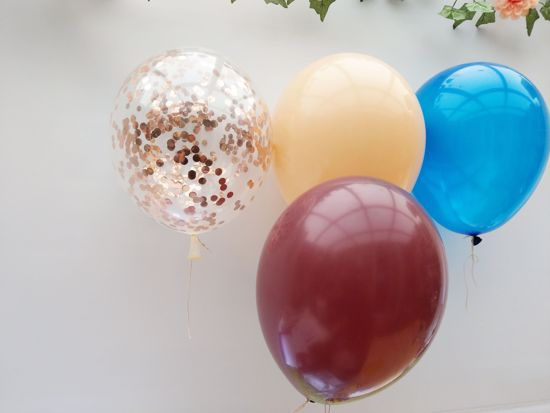 Picture of Rose Gold Balloons Confetti Blush Navy Burgundy Bouquet
