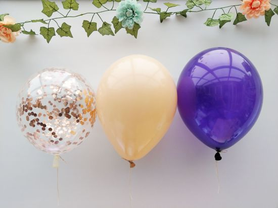 Picture of Rose Gold Balloons Confetti Blush Purple Bouquet