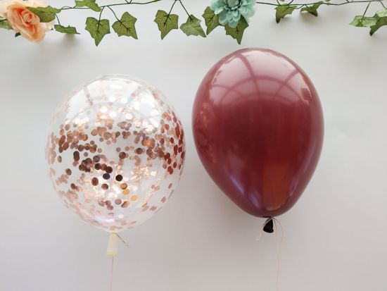 Picture of Burgundy Balloons Rose Gold Confetti Bouquet