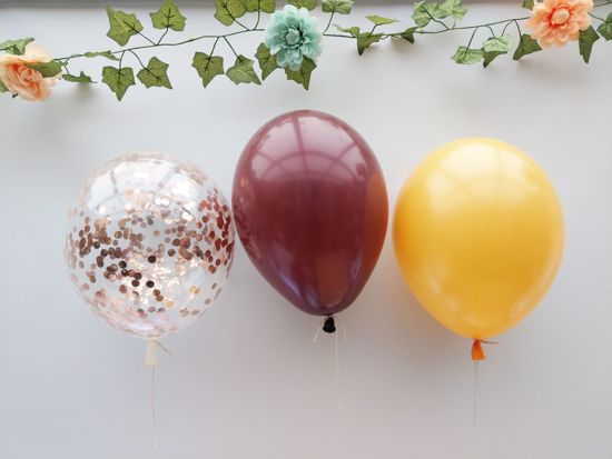 Picture of Burgundy Yellow Balloons Rose Gold Confetti Bouquet