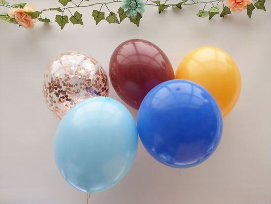 Picture of Burgundy Light Blue Balloons Rose Gold Balloons Confetti Bouquet