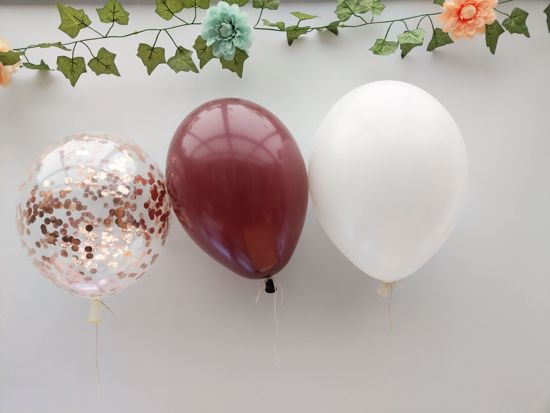 Picture of Burgundy White Balloons Rose Gold Balloons Confetti Ceiling