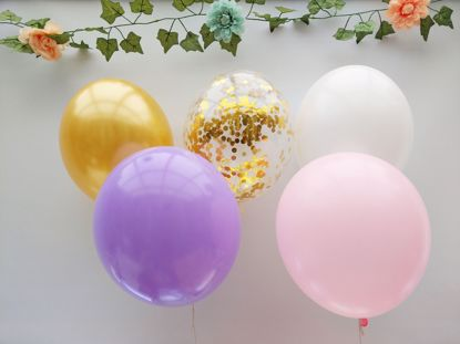 Picture of Blush Pink White Balloons Rose Gold Balloons Confetti Ceiling Lilac