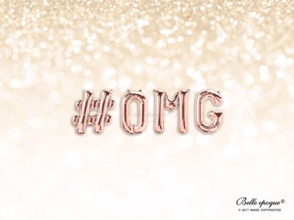 Picture of Rose Gold Balloon Banner Letters #OMG