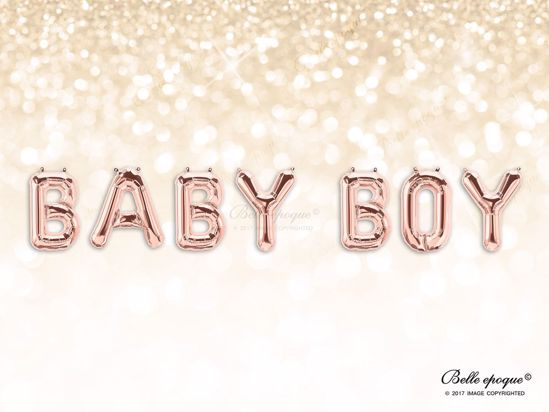Picture of Rose Gold Balloon Banner Letters  BABY BOY