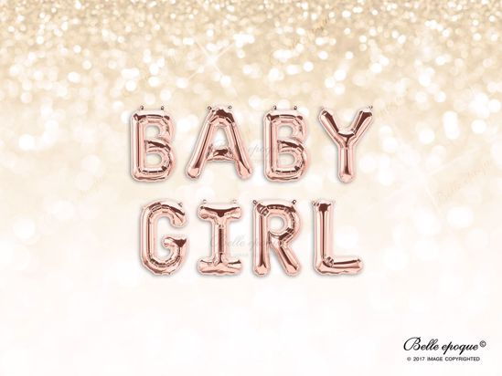 Picture of Rose Gold Balloon Banner Letters  BABY GIRL