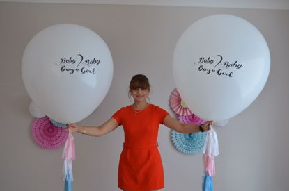 Picture of Baby Girl Baby Boy .. Printed Balloon Baby Shower  Giant 36 inch 3 feet Round Tassel Tails