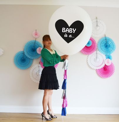Picture of Baby Is.. Printed Balloon Baby Shower  Giant 36 inch 3 feet Round Tassel Tails