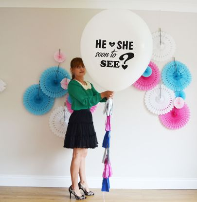 Picture of He or She Soon To see Printed Balloon Baby Shower  Giant 36 inch 3 feet Round Tassel Tails