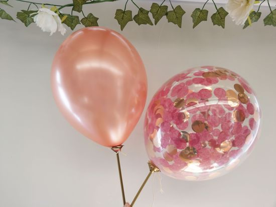 Picture of Burgundy Confetti Rose Gold Balloons Ceiling Bouquet