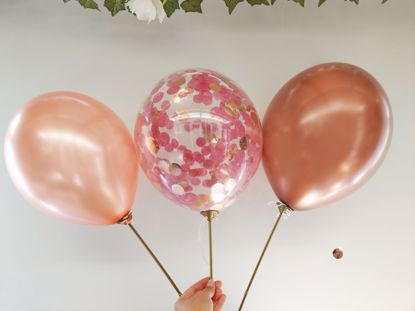 Picture of Burgundy Confetti Rose Gold Copper Balloons Ceiling Hen