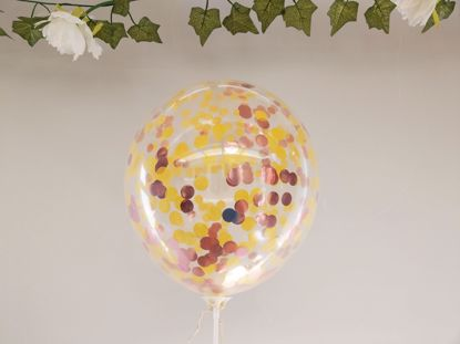 Picture of Yellow Rose Gold Confetti Balloons Ceiling Bouquet