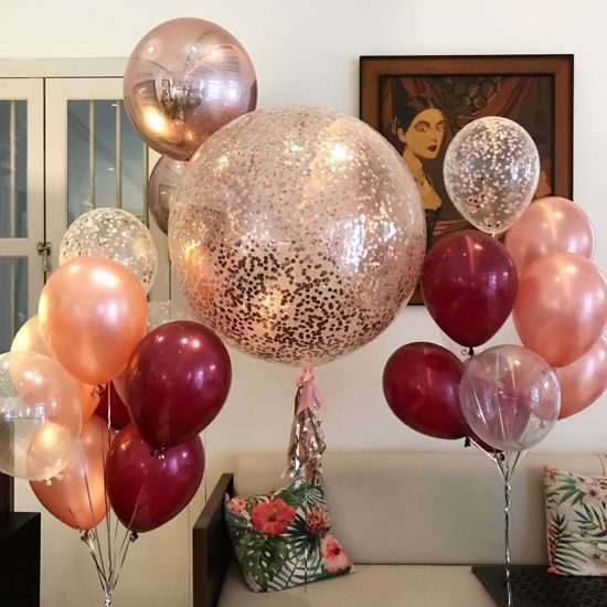 Outofmybubble Rose Gold Balloons Confetti Bouquet Burgundy