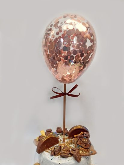 Picture of Rose Gold Balloon Confetti Cake Topper