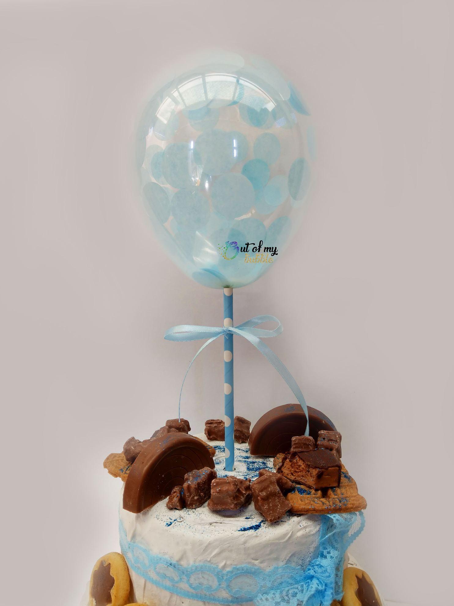 Outofmybubble Blue Confetti Balloon Cake Topper