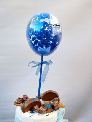 Picture of Royal Blue Confetti Balloon Cake Topper