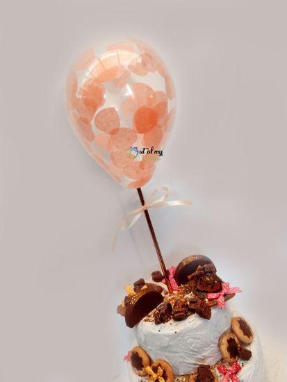 Picture of Peach Heart Confetti Balloon Cake Topper