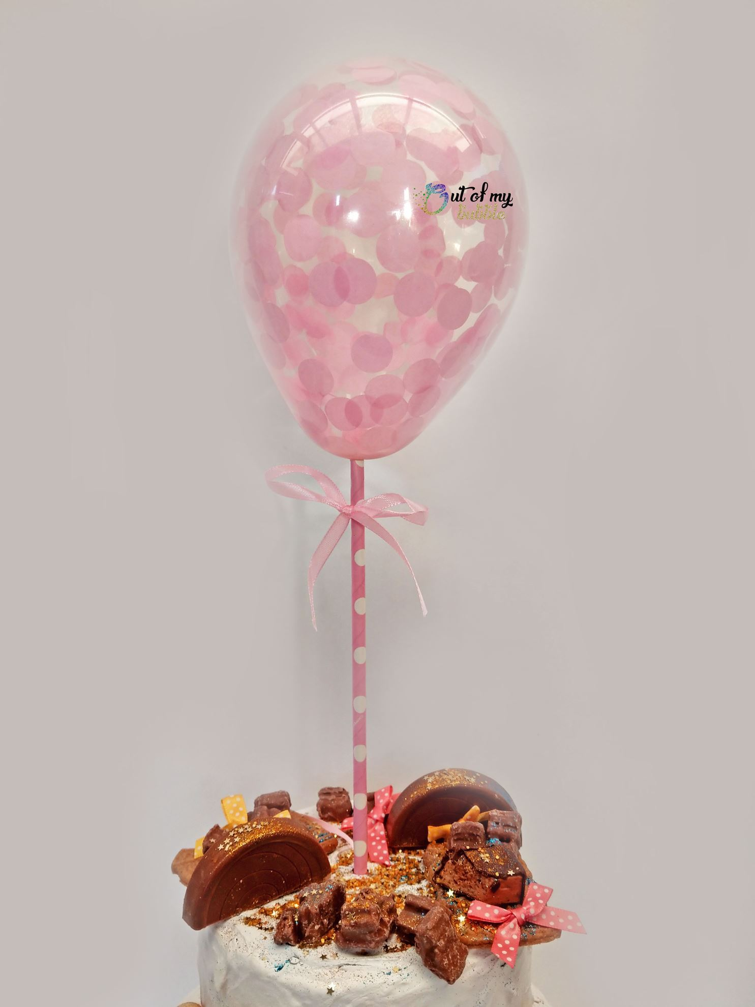 OutOfMyBubble. Blush Pink Confetti Balloon Cake Topper