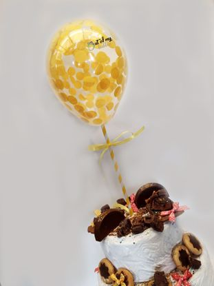 Picture of Yellow Confetti Balloon Cake Topper