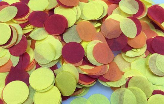 Picture of Tissue Confetti Balloons Yellow Burgundy Orange